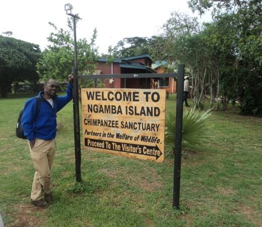 Ngamba Island sign post